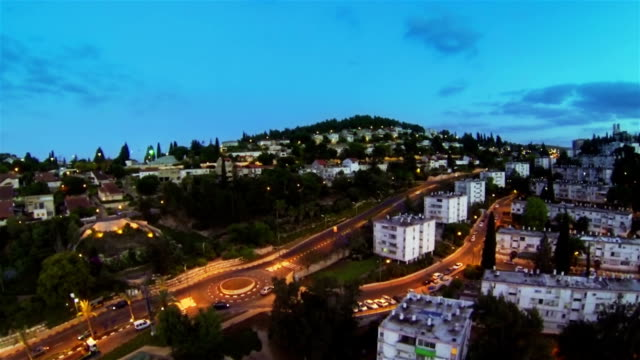 Aerial view of city in the evening