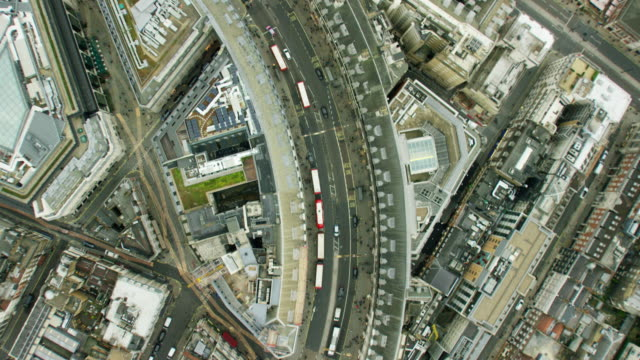 Aerial view of city streets and buildings London