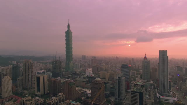 Aerial view of city Taipei at sunset, Taiwan