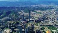 Luchtfoto van stadsgezicht center district, Taipei, Taiwan