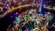 T/L WS HA PAN Aerial View of Cityscape from Shanghai Tower at Night / Shanghai, China