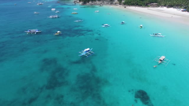 Aerial view of coastline with boats on Boracay Island.