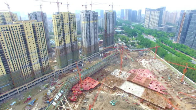 aerial view of construction,shoot by drone