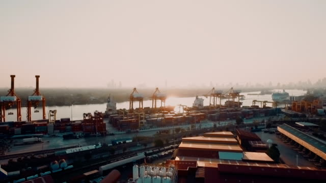 Aerial view of Container Port in city