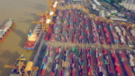 Aerial View of Container ship the harbor in the morning