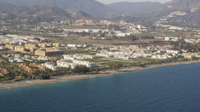 Aerial view of Costa del Sol coastline, Marbella, Andalusia, Spain