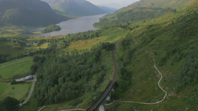 Aerial view of couple by Glenfinnan railway Viaduct