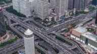 T/L WS HA TD Aerial View of Crowded Traffic / Beijing, China