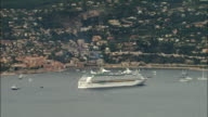 WS Aerial view of cruise ship in Villefranche harbor, Nice, Provence, France