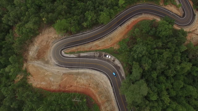 Aerial view of curve road on the mountain