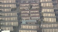 Aerial View Of Decrepit Apartments in Satellite City Of Tokyo