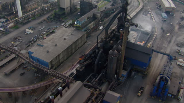 Aerial view of Detroit area steel mill.