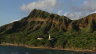 Aerial view of Diamond Head Crater and lighthouse on the coast of Honolulu, Hawaii.