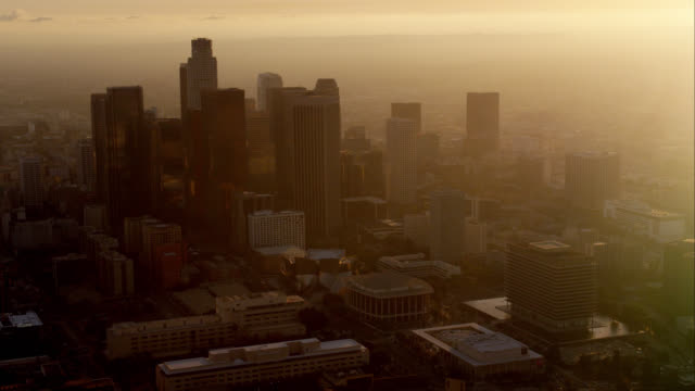 aerial view of downtown Los Angeles looking west against setting sun, RED R3D 4K, 4K, 4KMSTR