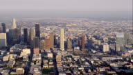 aerial WS view of downtown Los Angeles, RED R3D 4K, 4K, 4KMSTR