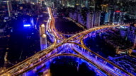 T/L MS HA Aerial View of Downtown Shanghai at Night / Shanghai, China