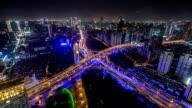 T/L WS HA Aerial View of Downtown Shanghai at Night / Shanghai, China