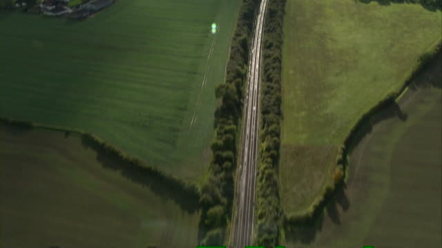 Aerial view of empty railway tracks after storm conditions force services to cancel