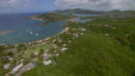 Aerial view of English and Falmouth Harbors in Antigua.