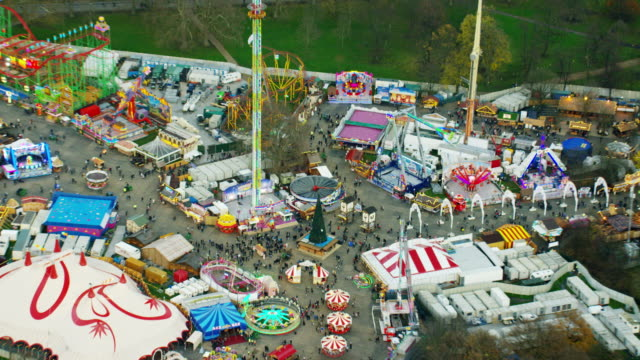 Aerial view of fairground entertainment in Hyde Park