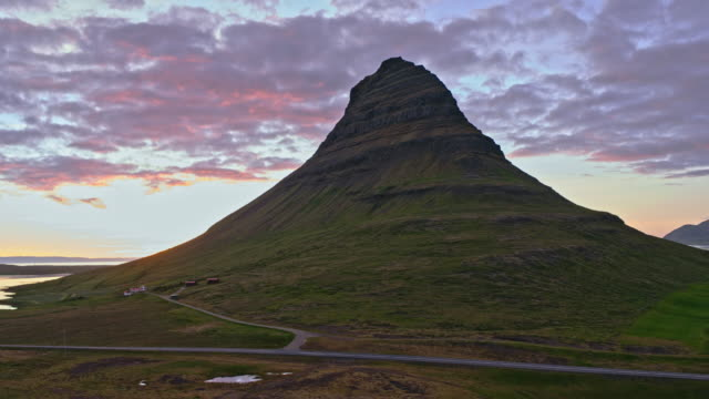 Aerial view of famous Kirkjufell mountain at sunset, Iceland