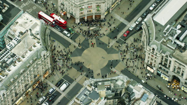 Aerial view of famous sights in Oxford Circus