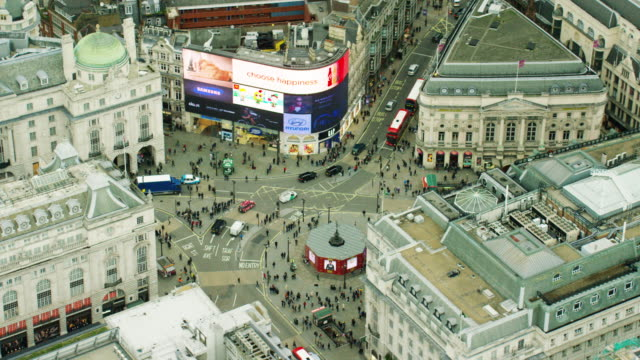 Aerial view of famous sights in Piccadilly Circus