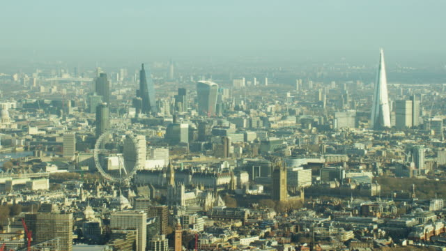 Aerial view of famous tourism sights London UK