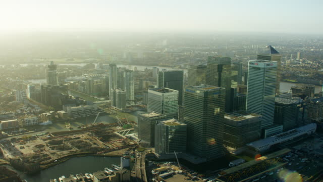 Aerial view of financial district Canary Wharf London