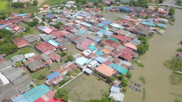Luftaufnahme der Flut in der Provinz Ayutthaya, Thailand