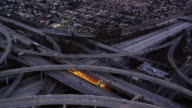 aerial view of freeway interchange in early evening, RED R3D 4K