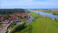 Aerial View of German town Hitzacker and River Elbe in Lower Saxony