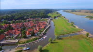 Aerial View of germany town Hitzacker and River Elbe in Lower Saxony