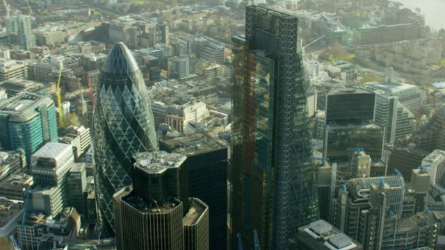 Aerial view of Gherkin building and skyscrapers London