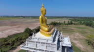 Aerial view of golden Buddha statue among rice paddy in countryside