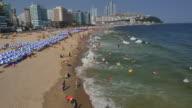Aerial view of Haeundae Beach (the most popular beach in Korea) in Busan