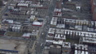 Aerial view of Harlem, NYC: streets and rooftops at Adam Clayton Powell Jr Boulevard.