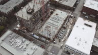 Aerial view of high rise being constructed