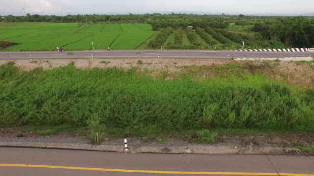 Aerial view of highway in countryside