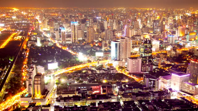 Aerial view of Highway to Bangkok Downtown Skylines time-lapse
