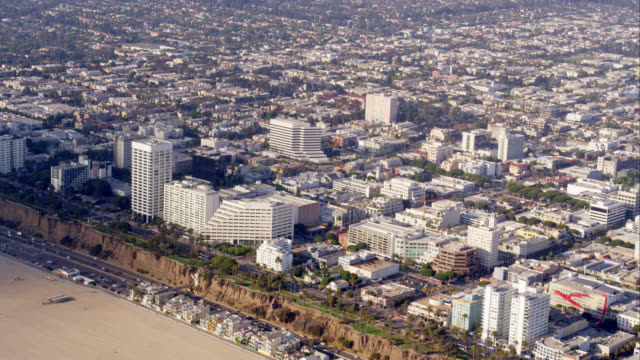 aerial view of hotels along Ocean Blvd in Santa Monica, Pacific Coast Highway and beach, RED R3D 4K, 4K, 4KMSTR