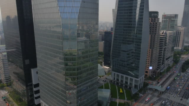 Aerial view of IFC Seoul office towers (mixed use commercial complex) in Yeouido Financial district