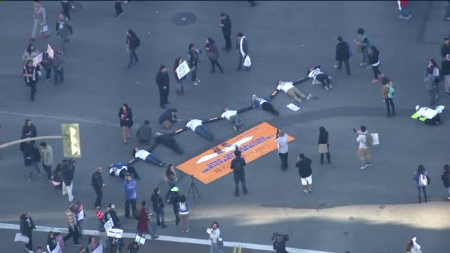 KTLA Aerial View of Immigration Reform Protest in Downtown LA on January 26 2016