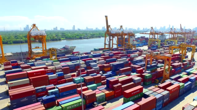 Aerial View of Industrial port with containers ship