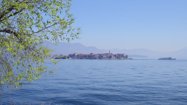 aerial view of Isola dei Pescatori on Lake Maggiore