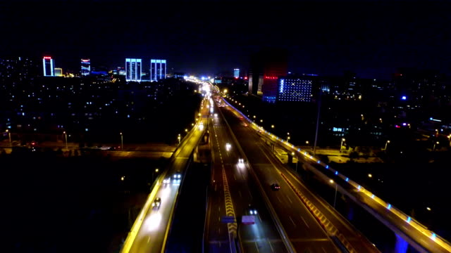 aerial view of junction at night shoot by drone