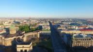 Aerial view of Kazansky cathedral in Saint-Petersburg