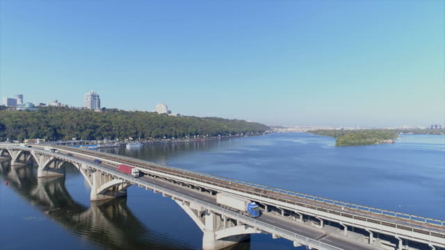 09/28/2017. Aerial view of Kiev Metro Bridge.
