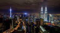 Aerial view of Kuala Lumpur city centre skyline during a clear night before the eve of new year