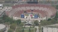 KTLA Aerial View of LA Coliseum Prepping for Olympics World Games